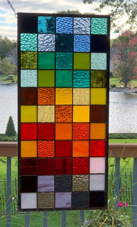 Your place to buy and sell all things handmade Modern Stained Glass Panels, Stained Glass Window Film, Stained Glass Door, Stained Glass Designs, Stained Glass Projects, Stained Glass Patterns, Window Glass Design, Glass Wall Art, Window Panels