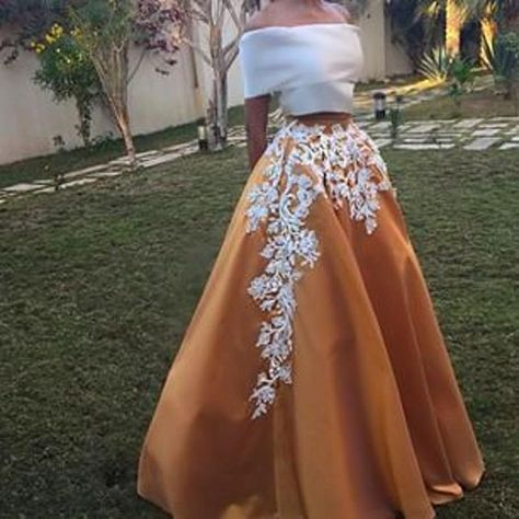Two Piece White Gold Satin Prom Dresses, Two Piece Formal Dresses, Off Shoulder Party Dresses