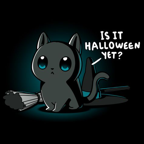 Is It Halloween Yet? t-shirt TeeTurtle black t-shirt featuring a cat with a broom and witch hat