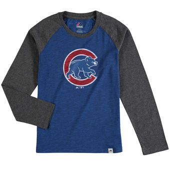 b043563a4f6 Youth Chicago Cubs Majestic Royal Grueling Ordeal Long Sleeve Raglan T-Shirt