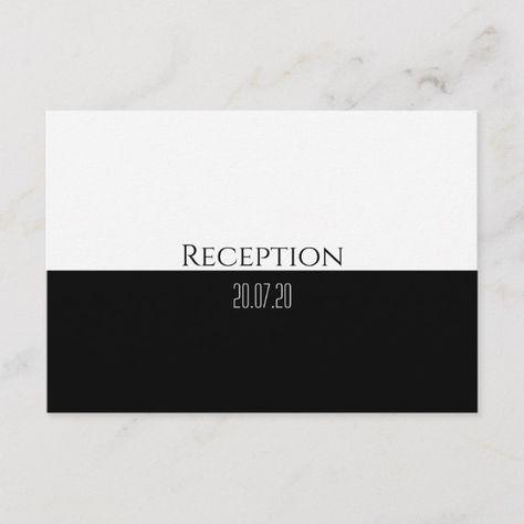 Classic Black & White Wedding Reception Invitation