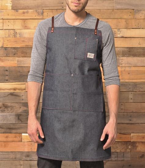 denim and leather shop apron