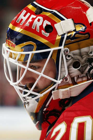 SUNRISE, FL - MARCH 4: Goaltender Reto Berra #20 of the Florida Panthers warms up on the ice prior to the start of the game against the Dallas Stars at the BB&T Center on March 4, 2017 in Sunrise, Florida. (Photo by Eliot J. Schechter/NHLI via Getty Images)