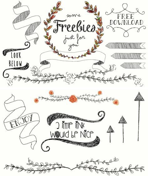 Flower Wreaths Arrows And Branches Free Download On My Blog Freebies Painted With My Bamboo Grafic Pad Clip Art Design Freebie Hand Lettering