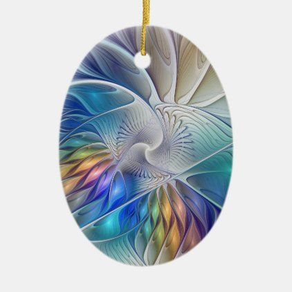 Fractal 2020 Christmas Gift Floral Fractal Art, Colorful Abstract Flower Ceramic Ornament