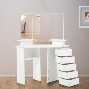 Makika Table De Maquillage Coiffeuse De Coin Tyra Avec Ajustable Tiroirs Table Maquillage Modele Placard Miroir Coiffeuse