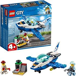 Build A Sky Police Jet Plane With Opening Cockpit Turning Searchlight And A Special Starter Brick Base To Quickl In 2020 Lego City Police Lego City Kids Building Toys