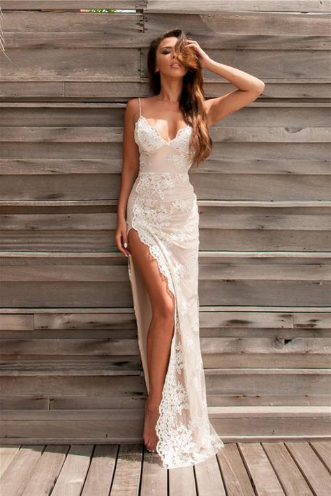 Sexy Spaghetti Straps Backless Appliques Long Prom/Evening Dress with Split Front · dressthat · Online Store Powered by Storenvy