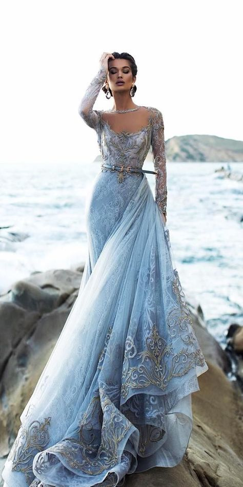21 Adorable Blue Wedding Dresses For Romantic Celebration ❤ blue wedding dres. 21 Adorable Blue Wedding Dresses For Romantic Celebration ❤ blue wedding dresses a line with long sleeves gold lace tarikedizofficial White Bridal Dresses, Wedding Dress Chiffon, Long Wedding Dresses, Elegant Dresses, Pretty Dresses, Bridal Gowns, Evening Dresses For Weddings, Romantic Dresses, Vintage Dresses