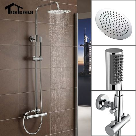 Twin Head Round Bathroom Shower Set Thermostanic Shower Mixer Complete Units Chrome Bath Brass Chrome Wall Sr2 Uk Free Shipp Shower Faucet Sets Shower Faucet Bathroom Shower Faucets