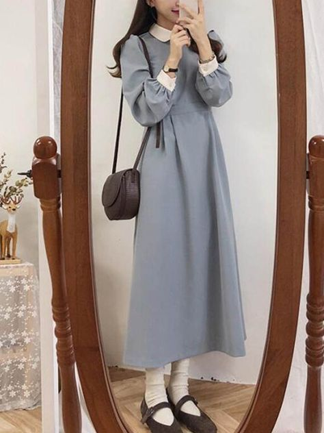 17.71US $ 11% OFF|Winter Basic Dress Long Hot Women Fashion Japan Korean Style Design A Line Patchwork White Peter Pan Collar Vintage Dress 3212|Dresses|   - AliExpress