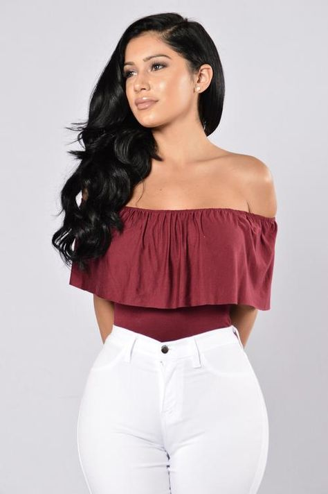 Available in Burgundy and Black Off Shoulder Body Suit Top Ruffle Snap Button Bottom Cheeky Bottom SleevelessAll Bodysuits FINAL SALE Made in Rayon Spandex
