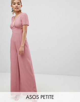 e26ca08c49b0 DESIGN Petite tea jumpsuit with cut out and wide leg | Clothes ...