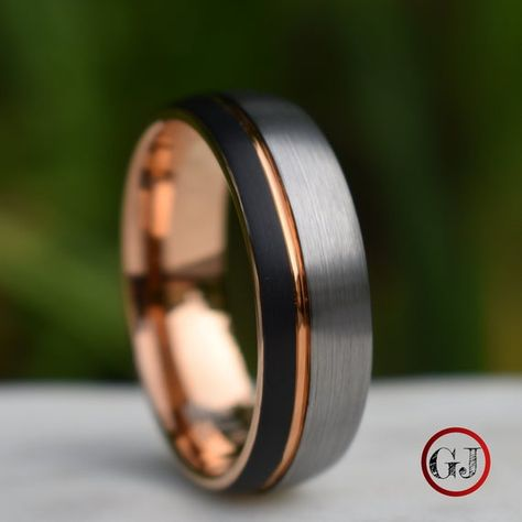Domed Tungsten Ring Black and Silver Brushed with Rose Gold Accent, Mens Ring, Mens Wedding Band de bodas de boda de compromiso hombre para hombres rings rings modern rings rose gold Mens Silver Rings, Silver Man, Silver Gifts, Black Silver, Gold Gifts, Wedding Men, Wedding Ideas, Cake Wedding, Men Rings