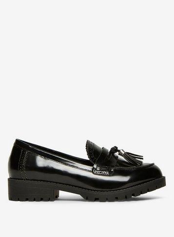 Womens Black 'Lemon' Chunky Loafers