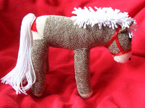 Rockford Red Heel Sock Monkey Pony / Horse by PhilomenasFriends Fabric Animals, Sock Animals, Sock Crafts, Sock Monkey Crafts, Red Heals, Sock Monkey Pattern, Homemade Dolls, Sock Toys, Socks And Heels