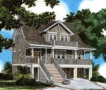 Plan 15023nc Raised House Plan Living In 2020 Raised House Coastal House Plans House On Stilts