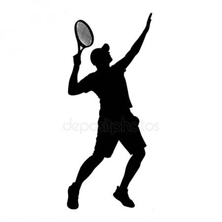 Man Tennis Player Vector Silhouette Isolated On White Background Stock Ad Player Vector Man Tennis Ad Tennis Players Tennis Silhouette