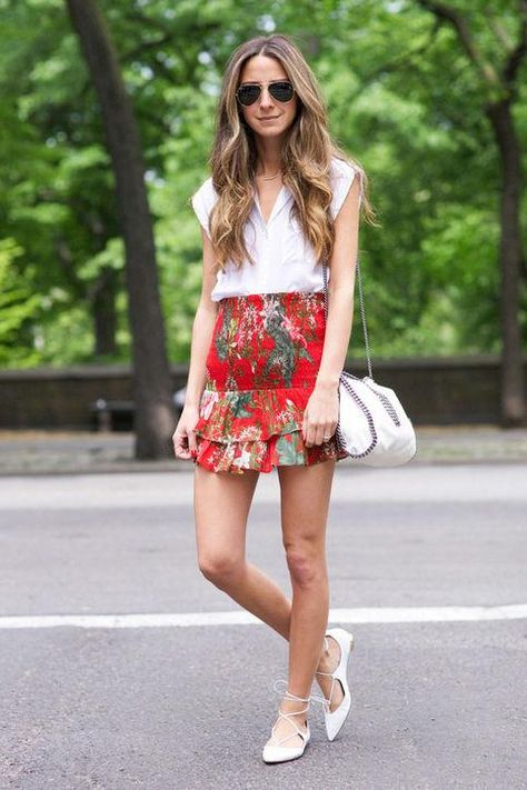 Casual summer work outfit idea: a white blouse and printed skirt, inspired by Something Navy