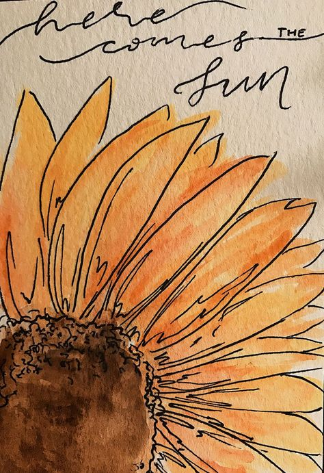 Watercolor sunflower here comes the sun #Aquarell –