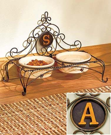 Cast Iron Filigree Stand with Pet Food Bowls