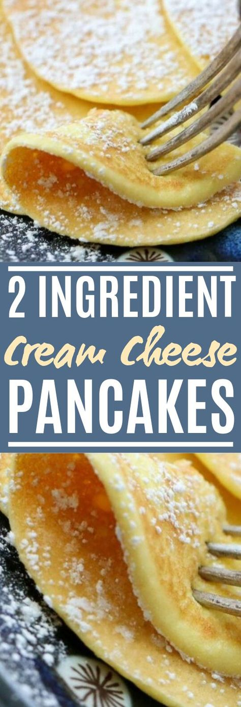 2-Ingredient Cream Cheese Pancakes #healthy #breakfast #keto #lowcarb #pancakes