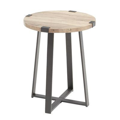 Graywash Metal Wrap Round Side Table Round Side Table Side Table Modern Industrial Decor