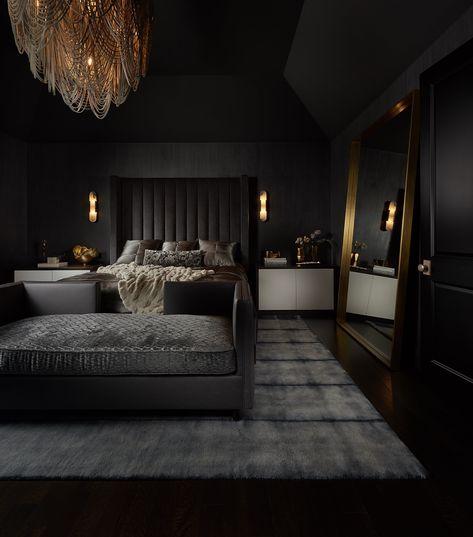 Black Master Bedroom, Black Bedroom Design, Black Interior Design, Luxury Bedroom Design, Luxury Rooms, Luxurious Bedrooms, Modern Bedroom, Dream House Interior, Luxury Homes Dream Houses