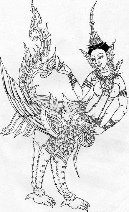 ก นร ต วเม ย และ ก นร ต วผ เป นส ตว ในป าห มพานต ร างกายท อนบนเป นมน ษย ท อนล างเป นนก ม ป กบ นได ตามตำนานเล าว าอาศ ยอ ภาพประกอบ ศ ลปะเคลต ก ภาพวาด