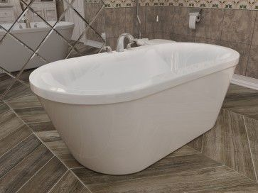 60 X 32 X 23 Oval Freestanding 2 Piece Acrylic Tub Center Drain Integrated Linear Waste And Over Flow Freestanding Tub Faucet Refinish Bathtub Bathtub