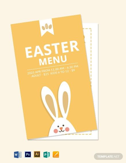 Free Easter Menu Card Template In 2020 Menu Card Template Menu Cards Easter Menu