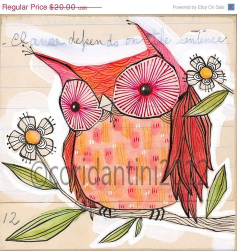 Items similar to red owl art - watercolor painting - whimsical - limited edition and archival print, 8 x 8 inches by cori dantini on Etsy