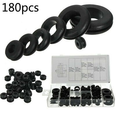 180pcs Black Cable Sealing Rubber Gaskets Washer Grommet Assortment Set Useful In 2020 Rubber Grommets Cable Grommet Black Cables