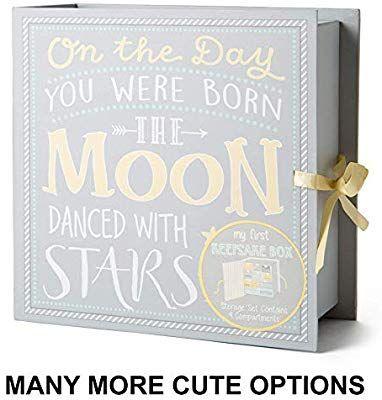 Track Treasured Memories Moon /& Stars Baby Milestone Keepsake Storage Box
