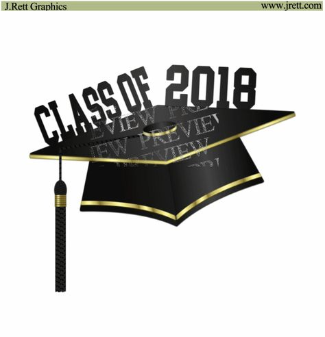 Graduation 2018 Clip Art Black And Gold Graduation Cap Clipart