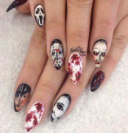 Nails Halloween Gel Coffin 16 Ideas Scary Halloween Nails Design Halloween Nail Designs Horror Nails