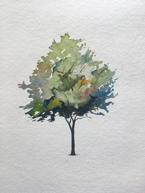 How To Paint A Tree In Watercolors - The Startup - Medium Tree Watercolor Painting, Watercolor Painting Techniques, Watercolor Flowers, Simple Watercolor, Watercolor Animals, Tattoo Watercolor, Watercolor Background, Watercolour Tutorials, Painting Trees