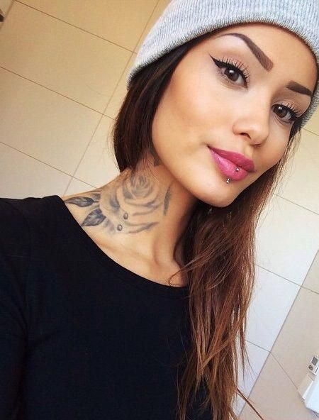 Amazing Rose Tattoo Ink Youqueen Girly Tattoos Flower Rose Beauty Sexytattoos Neck Tattoos Women Girl Neck Tattoos Neck Tattoo