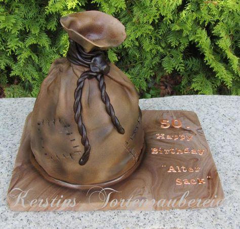 Torte 50 Geburtstag Mann Sacktorte Schokotorte Schoko Eierlikorkuchen Amerikanische Buttercreme 50th Birthday Cake Man Bag Chocolate