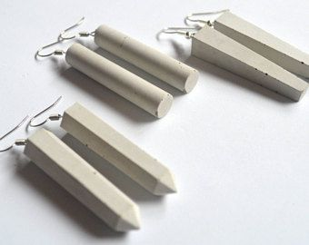 Items similar to Simple concrete earrings / Geometric concrete earrings / Minimalist earrings on Etsy