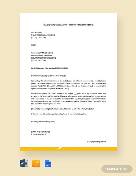 Free Character Letter For Court For Family Member Reference