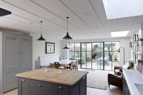 contemporary bistro kitchen made by Plain English open shelving soft French greys and blue - via Remodelista