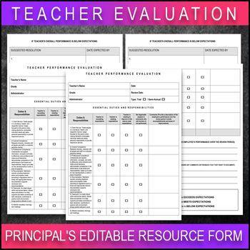 Teacher Performance Evaluation Rubric Sale Principals