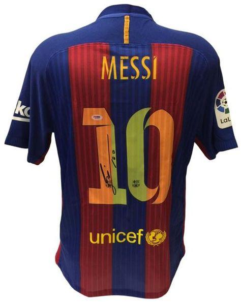 57655d5d1 Lionel Messi Signed Nike Barcelona 2016-17 Home Soccer Jersey PSA ...