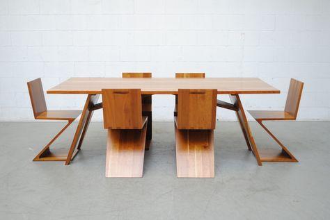 Custom Gerrit Rietveld Solid Cherry Dining Set Dining Dining Set Dining Table