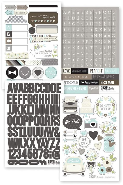 Simple Stories - Sn@p! Stickers: Wedding (257 Stück)