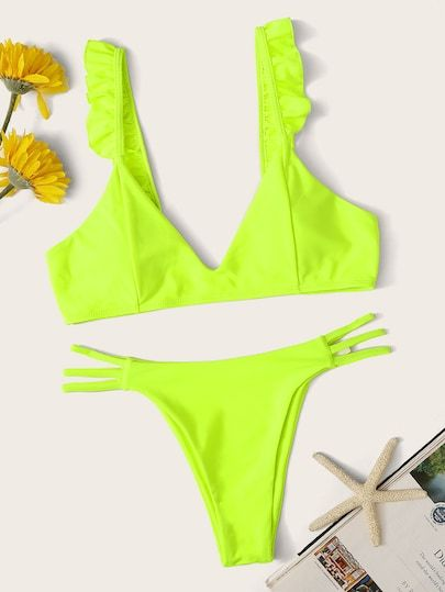 7b522ec90a Neon Lime Ruffle Strap Top With Ladder Cutout Bikini [swswim03190411830] -  $26.00 : cuteshopp