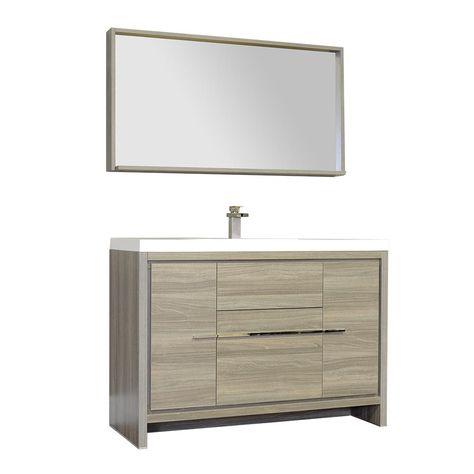 Ripley 47 In W X 19 37 In D X 34 12 In H Vanity In Gray With Acrylic Vanity Top In White With White Basin Modern Bathroom Bathroom Sink Vanity Bath Vanities