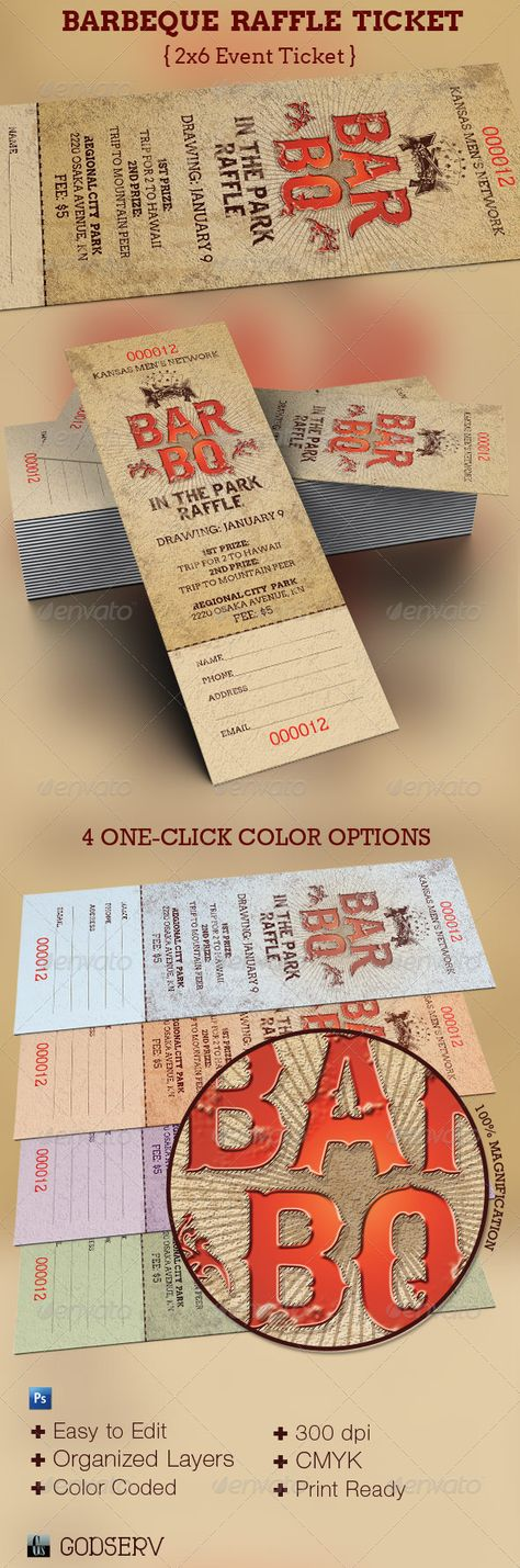 BarBeQue Raffle Ticket Template Ticket template, Raffle tickets - create raffle tickets in word