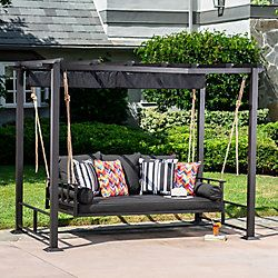 Hampton Bay Pacific Landing Steel Aluminum Swing With Flat Canopy